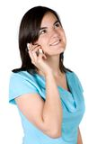 Beautiful girl on a cellphone Stock Images