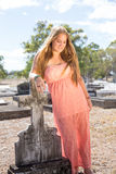 Beautiful girl in cemetery royalty free stock images