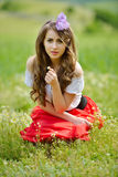 Beautiful girl on cereal field in spring Stock Image