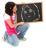 Beautiful Girl with Chalkboard Royalty Free Stock Image