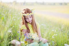 Beautiful girl with chamomile on grass Stock Photos
