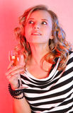 Beautiful girl with champagne Stock Photos
