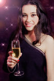 Beautiful girl with champagne Stock Image