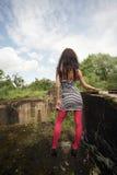 Beautiful girl at a chasm Royalty Free Stock Photo
