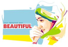 Beautiful Girl. Check out this colorful portrait of Beautiful Girl! A very good example of the geometric style, this new and free beautiful girl is available for Royalty Free Stock Photography