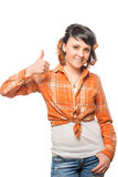 Beautiful girl in checkered shirt keeps his finger up Royalty Free Stock Photo
