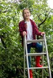 Beautiful teenage girl in checkered shirt and rubber boots climbing on stepladder at orchard. Beautiful girl in checkered shirt and rubber boots climbing on Stock Photo