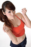 Beautiful girl cheer up. For you, closeup portrait of Asian sport woman on white background Stock Images