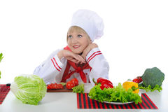 Beautiful girl chef Royalty Free Stock Photos