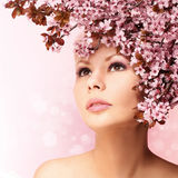 Beautiful Girl With Cherry Blossom isolated Stock Photos