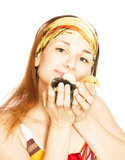 Beautiful girl with chickens and ducklings Royalty Free Stock Photo
