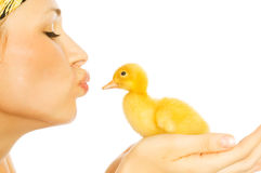 Beautiful girl with chickens and ducklings royalty free stock image