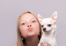 Beautiful girl with chihuahua Royalty Free Stock Photography