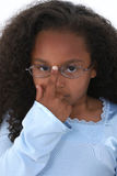 Beautiful Girl Child Pushing Up Glasses Royalty Free Stock Photo