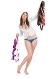 Beautiful girl chooses a garment Stock Photo