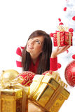 Beautiful girl  with chrismas balls Royalty Free Stock Photos