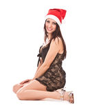 Beautiful girl in christmas cap. Royalty Free Stock Photography