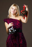Beautiful girl with Christmas decorations Stock Photos