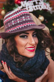 Beautiful girl on Christmas eve. Beautiful girl with a hat on Christmas eve royalty free stock photography