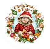 Beautiful girl at Christmas fair vector illustration