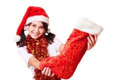 Beautiful girl in christmas hat Stock Photo
