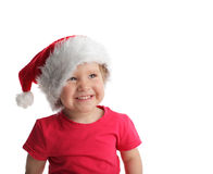 Beautiful girl in a Christmas hat Stock Photo