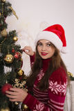 Beautiful girl with a Christmas mood Royalty Free Stock Images