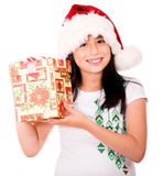 Beautiful girl with a Christmas present Royalty Free Stock Image