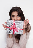 Beautiful girl with christmas present on sale Royalty Free Stock Images