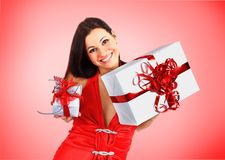 Beautiful girl with Christmas presents Stock Image
