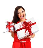Beautiful girl with Christmas presents. Stock Images