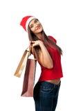 Beautiful girl on Christmas sales Royalty Free Stock Photography