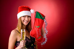 Beautiful girl with Christmas stocking royalty free stock photography
