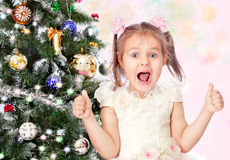 Beautiful girl with a Christmas tree Royalty Free Stock Images