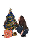 Beautiful girl with Christmas tree Stock Photography