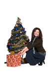 Beautiful girl with Christmas tree Royalty Free Stock Photo