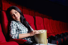 Beautiful girl at the cinema Stock Photo