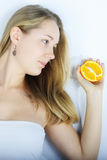 Beautiful girl with citrus Royalty Free Stock Image