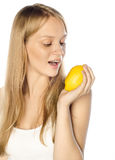 Beautiful girl with citrus Stock Image