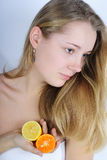 Beautiful girl with citrus Stock Photo