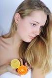 Beautiful girl with citrus Stock Photo