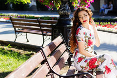 Beautiful girl  in city center Royalty Free Stock Photos