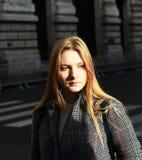 Beautiful girl in city stock photo