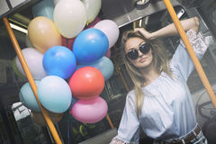 Overground party !. Beautiful Girl in City of London Stock Images