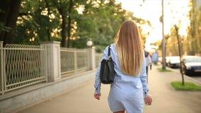 Beautiful girl in the city. Beautiful girl walking on street stock video