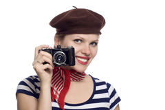 Beautiful girl in classic 60s french look Royalty Free Stock Image
