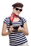 Beautiful girl in classic 60s french look Stock Photos