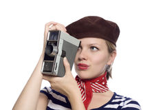 Beautiful girl in classic 60s french look Royalty Free Stock Photo