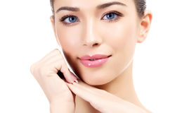 Beautiful girl with clean fresh skin. White background royalty free stock photography