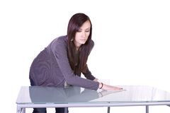 Beautiful Girl Cleaning Table Royalty Free Stock Image
